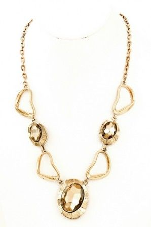 Metal abstract shaped glass stone cutout necklace. #salediem #jewelry #gold #accessories