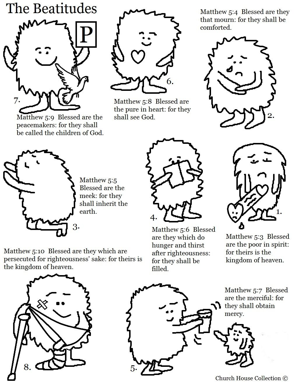 The Beatitudes Coloring Page | Sunday School Coloring Pages- Bible ...