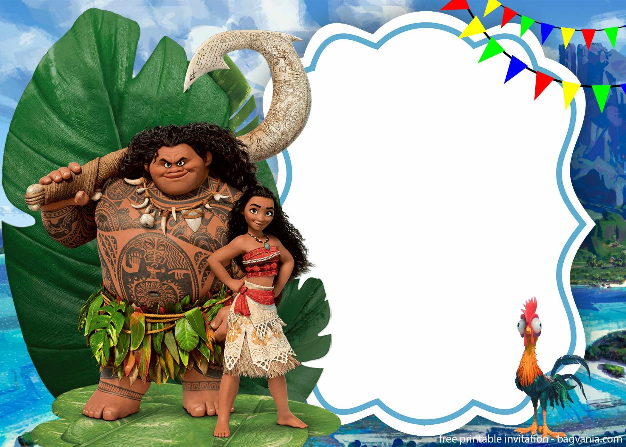 graphic about Moana Printable Invitations identified as Cost-free Printable Moana Birthday Invitation Template Bagvania