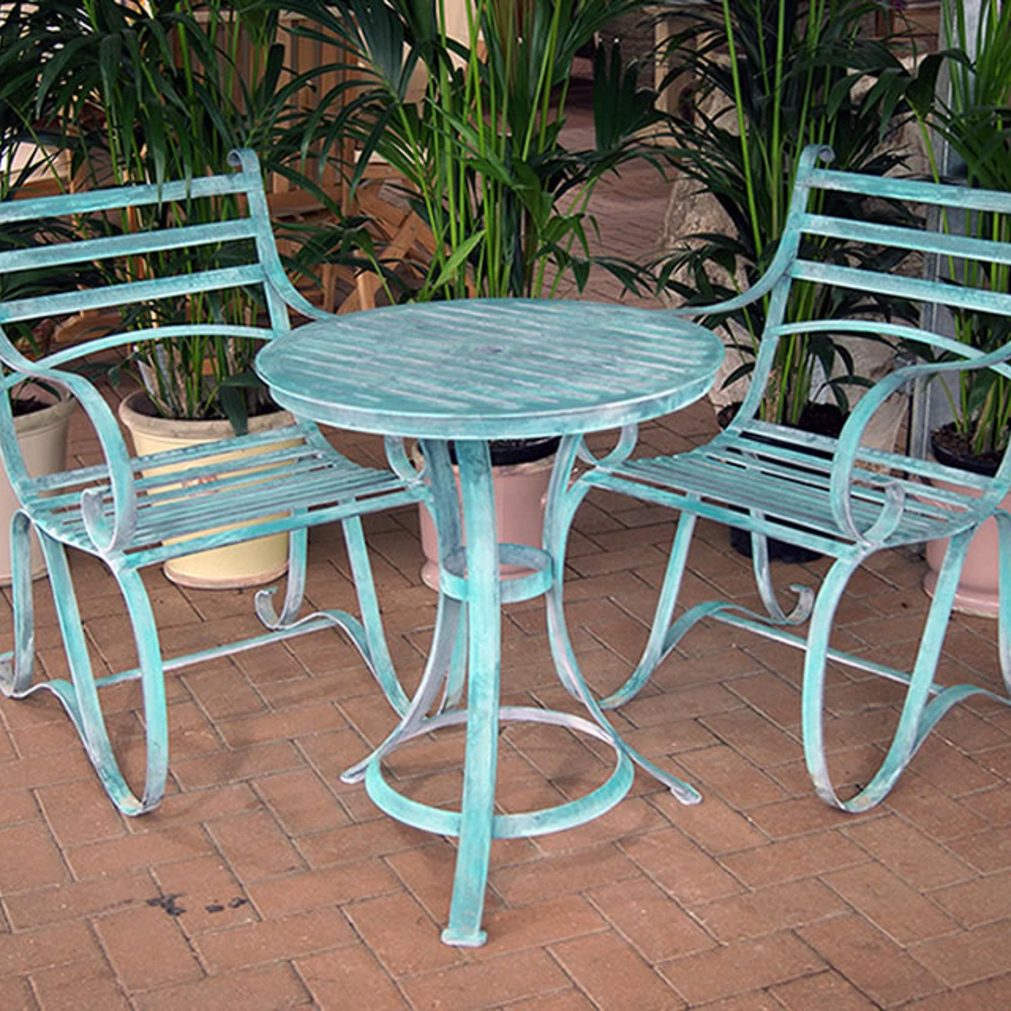 Iron Garden Table And Chairs Part - 24: Verdigris Metal Garden Bistro Set For Two