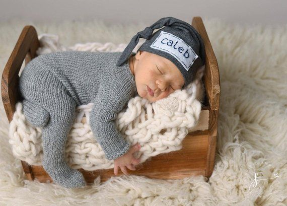 a4321d4ce20 Baby knot hat name - personalized - hospital hat - newborn photo prop -  CHARCOAL GRAY