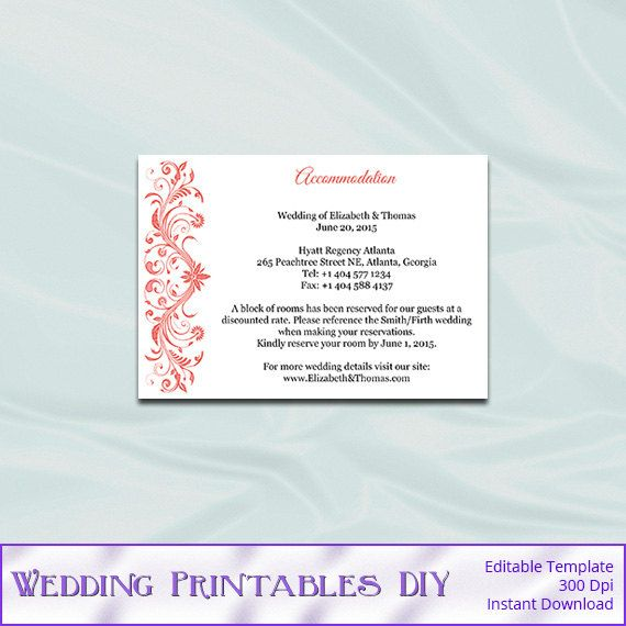 Wedding Enclosure Card Template Coral Hotel Accommodation Cards Invitation Inserts Printable
