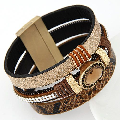 Pulseira Masculina Leather Bracelet With Magnetic Clasp Fashion Wrap Bracelets & Bangles for Women Men Jewelry Pulseras bijoux