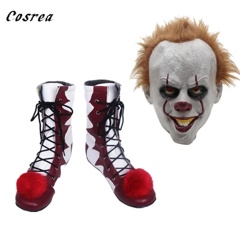 Halloween Shoes Lace Up Cosplay Pennywise Mid-Calf Boots Carnival Clown Boots 11