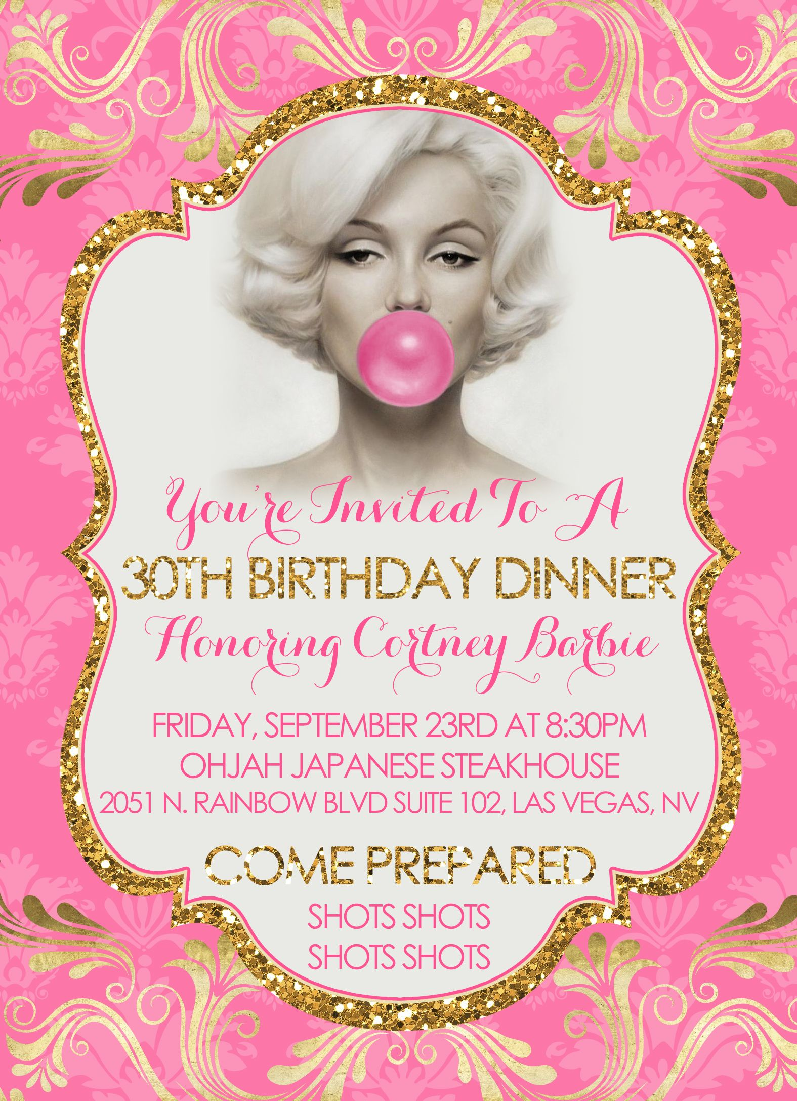 marilyn monroe 30th birthday party invitations