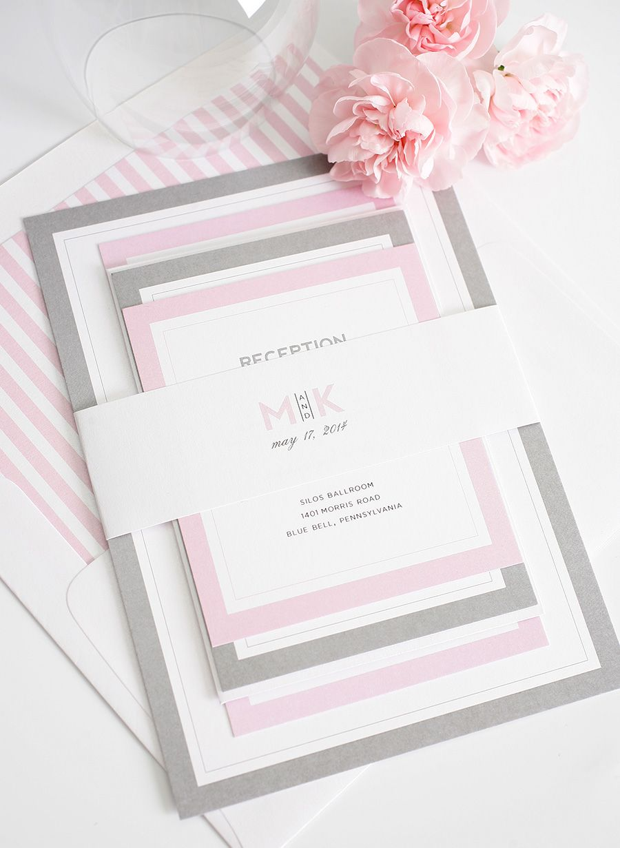Gorgeous wedding invitations with pink and gray borders gray gorgeous wedding invitations with pink and gray borders monicamarmolfo Choice Image