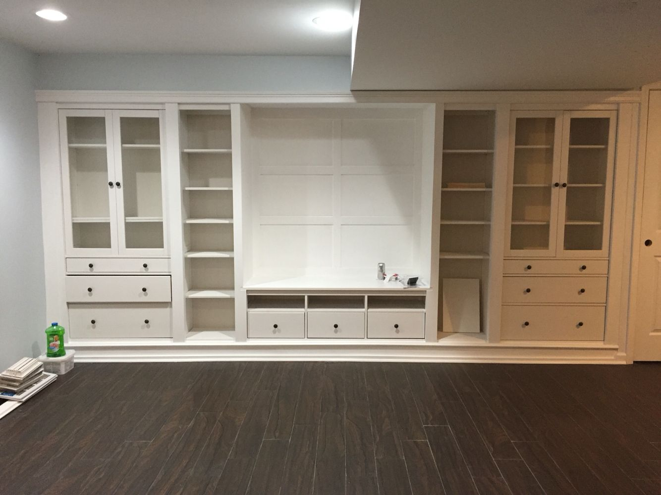 Ikea hack built ins in our basement hemnes series centro - Mueble tv hemnes ...