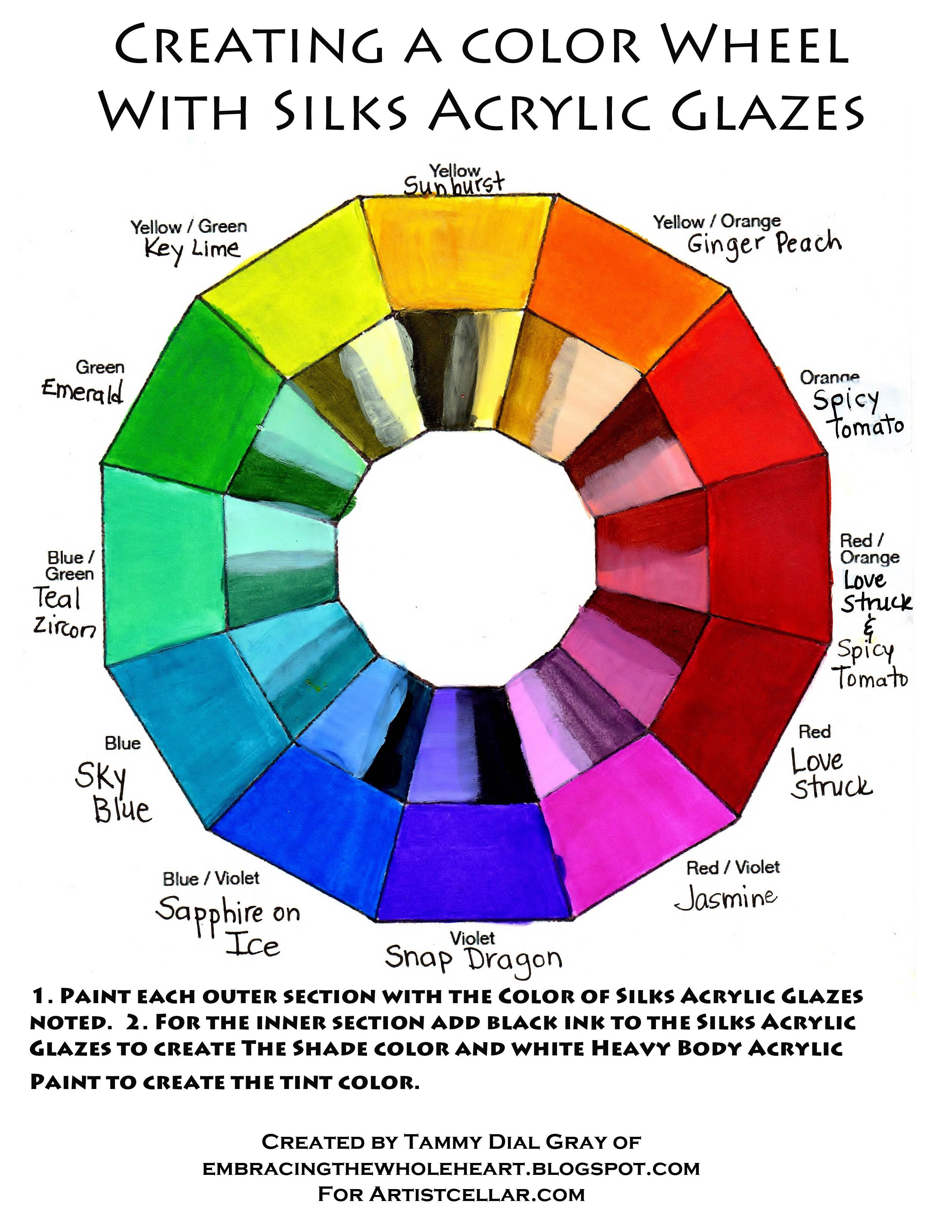 Creating a color wheel with silks acrylic glazes by tammy for Color wheel chart paint