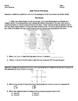 Worksheet Solar Time Time Zones Editable With Images