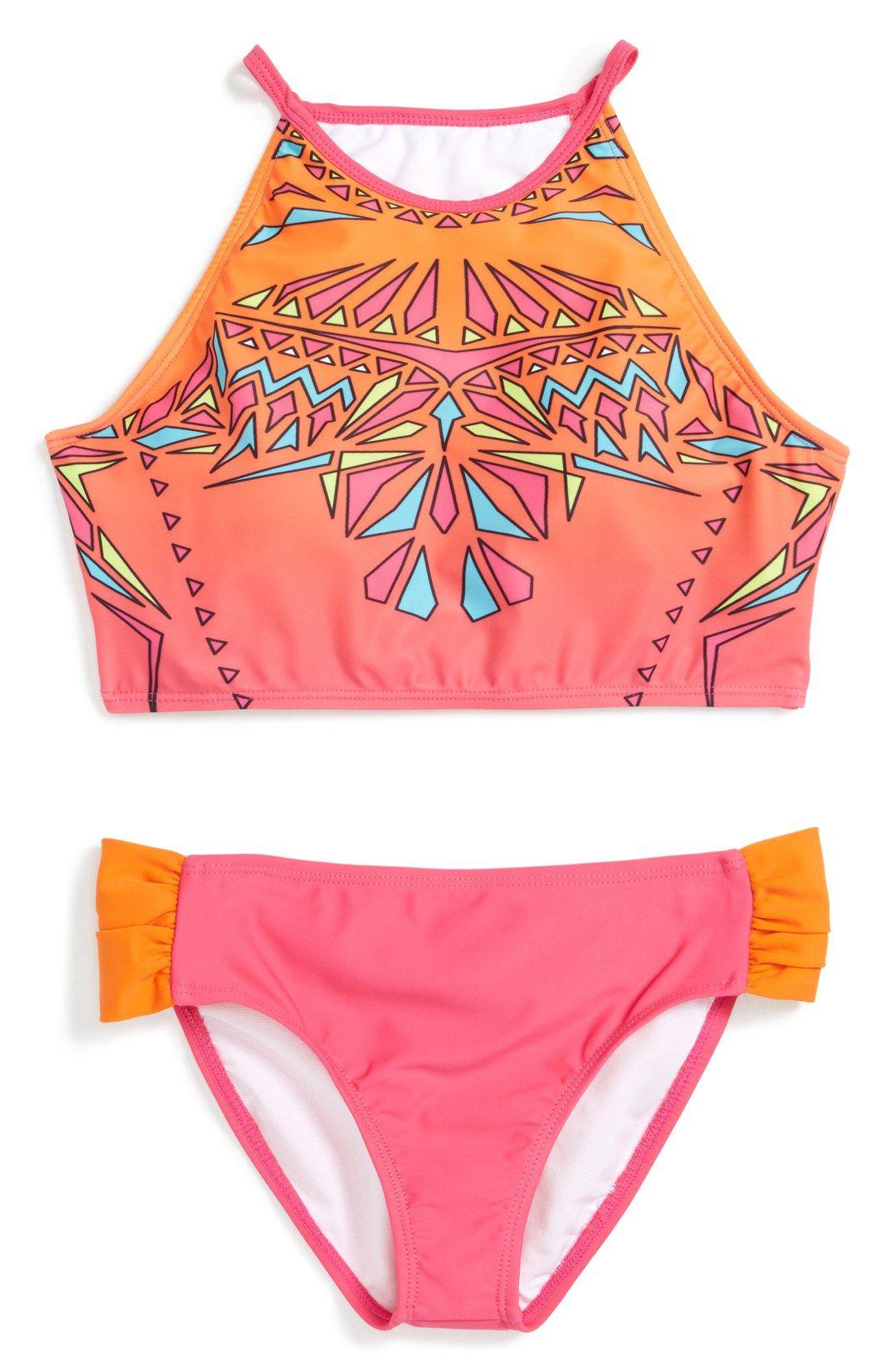 Angel Beach Big Girls Laser-Cut Ombre Bikini Swimsuit