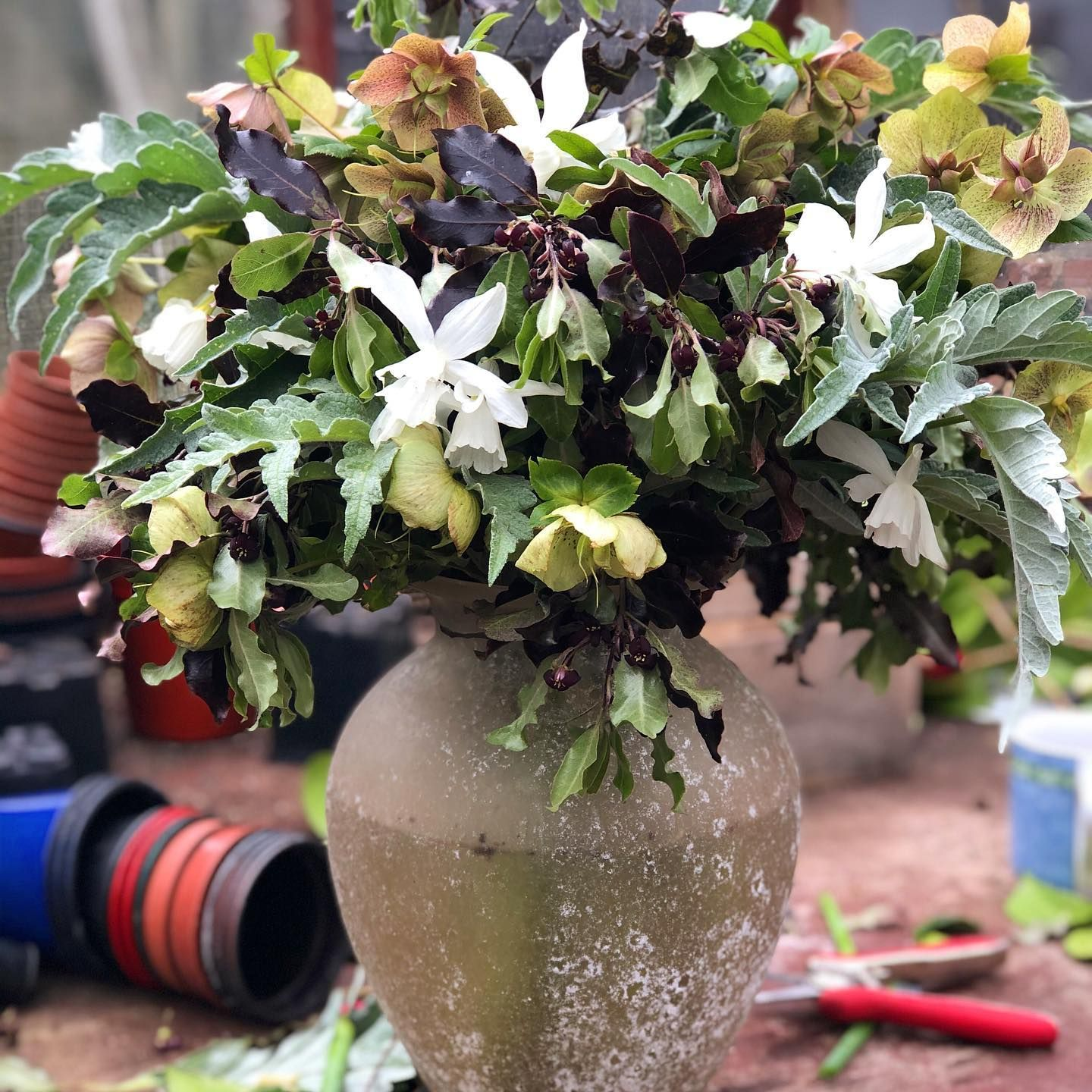 Picked from her garden for a beloved friend who needed a bit of flowery help it was amazing to be walking in a garden and to touch some flowers keeping our distance theres not much else we can do but I was glad to do this #covidkindness #sadday #naturalbeauty #flowerdiary beautiful vase of spares made by Lydia #twins #heavenlyhandmade
