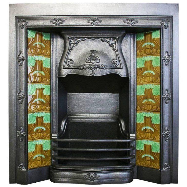 Antique Edwardian Art Nouveau Cast Iron Grate Art Nouveau Art Nouveau Tiles Antique Fireplace