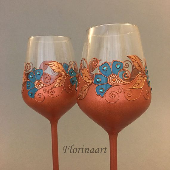 Copper Anniversary Glasses 22nd Wedding Gift 7th