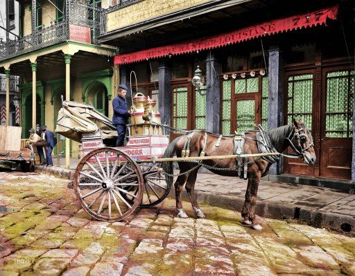 """""""A New Orleans milk cart."""" (colorized): 1903  Submitted by Don Wagoner on Mon, 02/01/2010 - 5:31pm.  Tags:        Colorized Photos"""