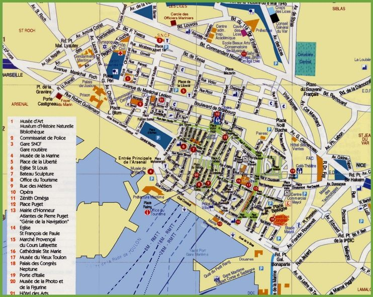 Toulon sightseeing map | Toulon in 2019