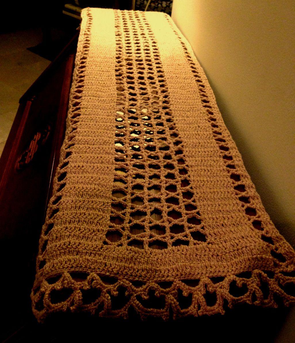 Crochet Table Runner (Free Pattern) | Free pattern, Crochet and Patterns
