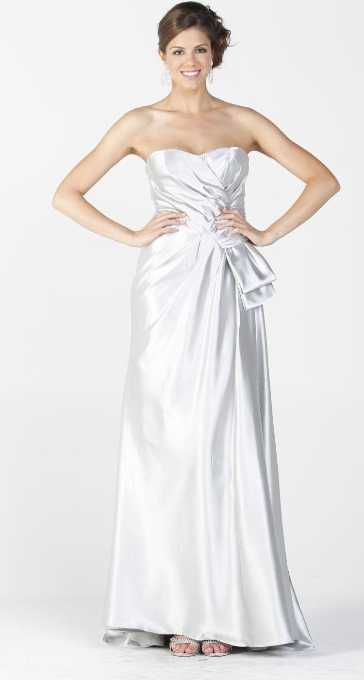 Silver Maxi Long Satin Formal Dress Classy Evening Gown Strapless ...