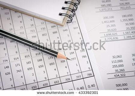 Balance sheet ,pencil, notebooks on accountant\u0027s desk Accounting
