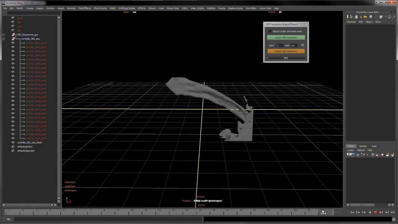 Autodesk Maya Tool - OBJ Sequence Import/Export demo | #AUTODESK
