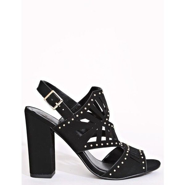 Studded And Caged Mule Heels ($9) ❤ liked on Polyvore featuring shoes, black, mule shoes, rubber sole shoes, black mules shoes, black peep toe mules and ankle strap shoes