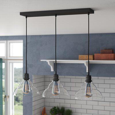 Wrought Studio Shunk 3 Light Kitchen Island Linear Pendant In