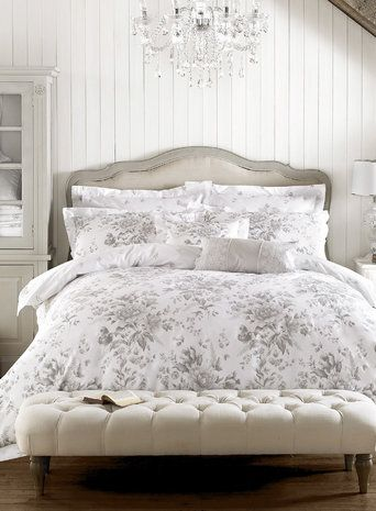 Holly Willoughby Ruby Grey Floral Printed Bedding Duvet Cover