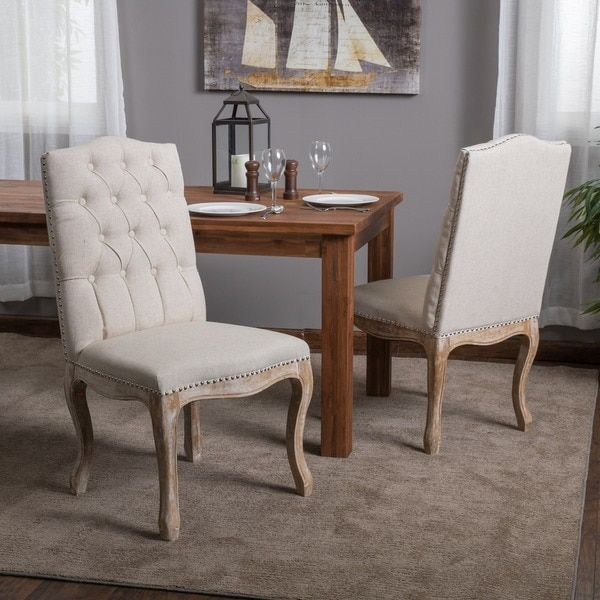 301 2 Weathered Hardwood Studded Beige Dining Chair Set Of By Christopher