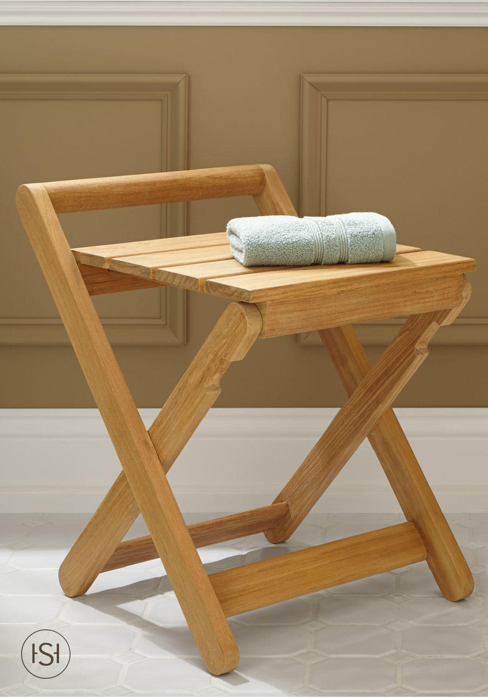 Dhara Teak Folding Shower Stool | Shower seat, Teak and Spa
