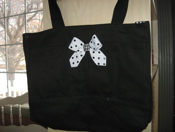 Check out this item in my Etsy shop https://www.etsy.com/listing/179146753/black-tote-bag-w-pwhite-polkadot-bow-and