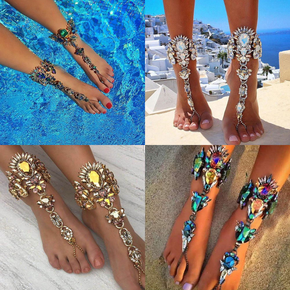 a67882ca23dfa1 Punk Lady Crystal Anklet Chain Toe Ring Ankle Barefoot Sandal Beach Foot  Jewelry  Unbranded