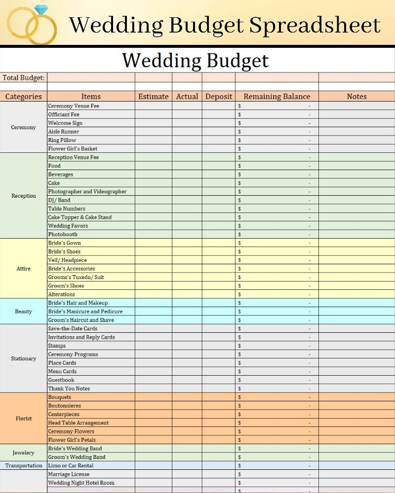 Simple Wedding Budget Template Editable And Auto Calculating Wedding Budget Instant Download Track Expenses For Wedding In 2021 Wedding Budget Spreadsheet Wedding Budget Template Budget Wedding