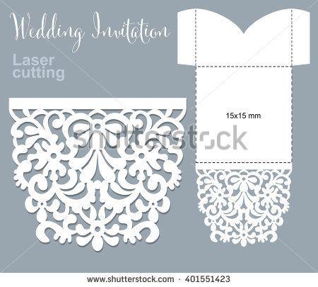 Vector die laser cut envelope template. Invitation envelope. Wedding ...