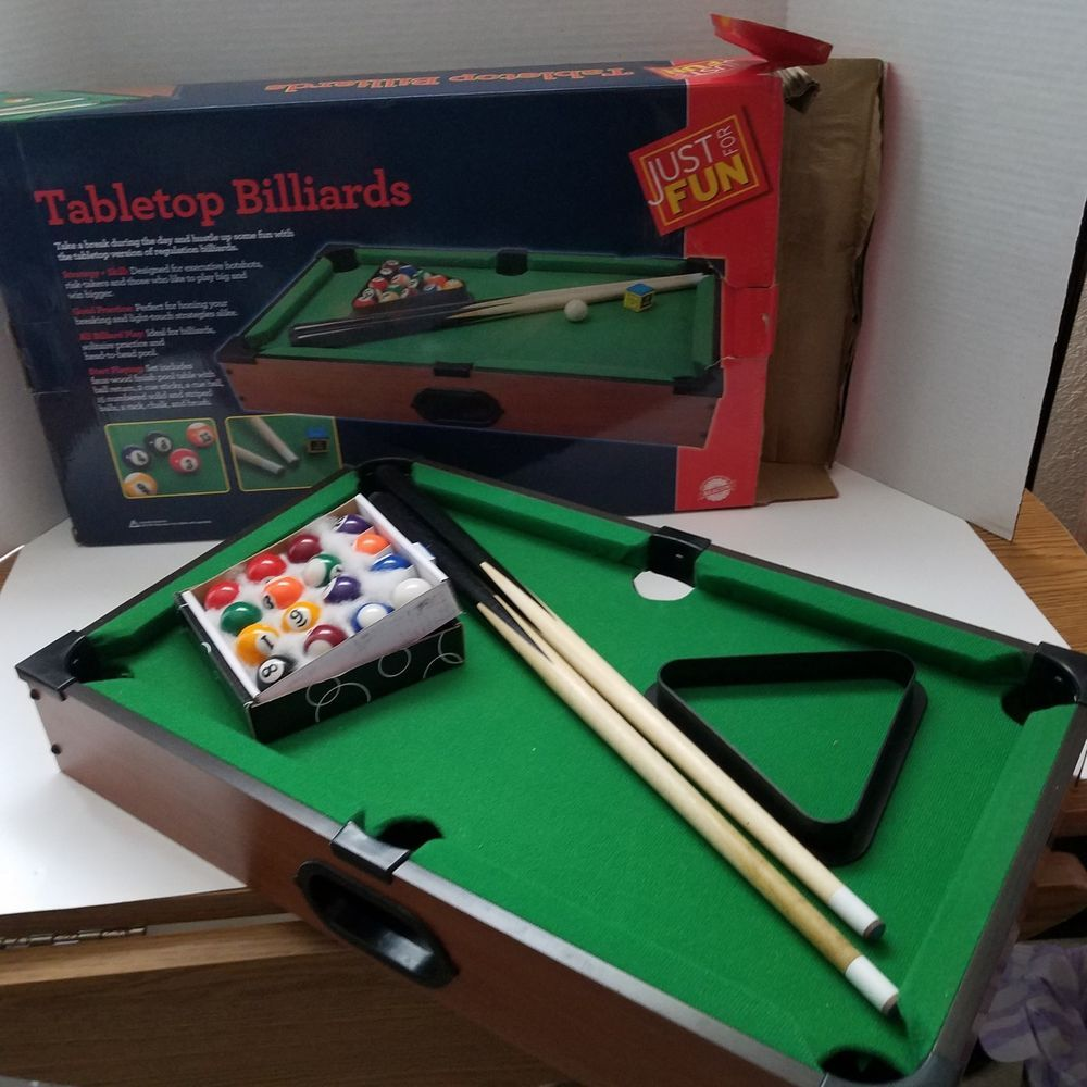 Just For Fun Tabletop Billiards Pool Complete In Box #JustforFun