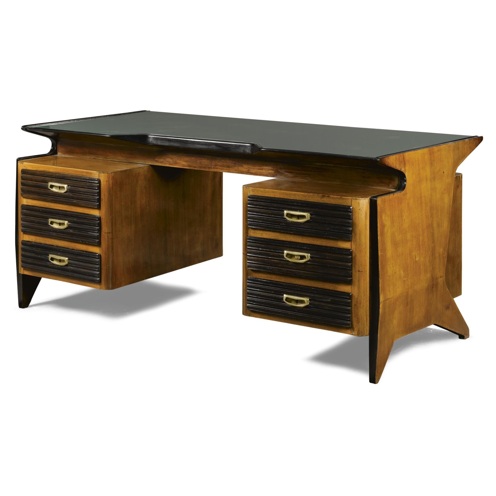 Osvaldo Borsani Walnut Brass And Glass Desk 1950s Tabled