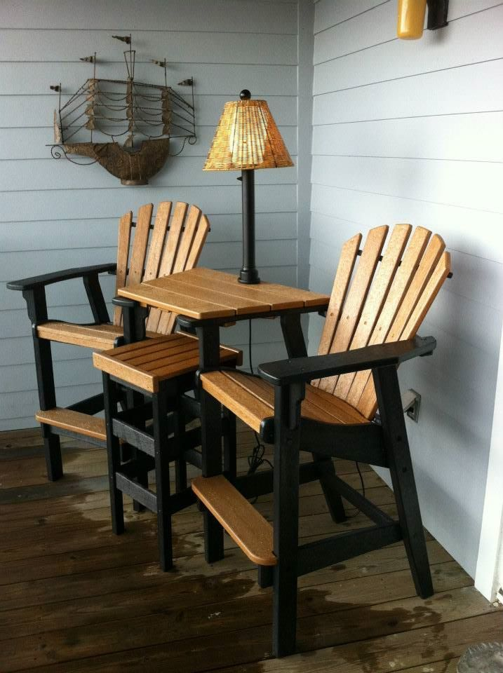 Bar height Coastal Counter Chairs with tete-a-tete table top and ...