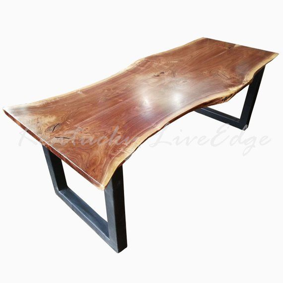 Custom Dining Table Modern Artistic Natural Wood Steel Bases Or