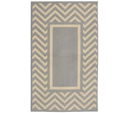 Chevron Frame College Rug  Silver and Ivory is part of Dorm decor Neutral - Chevron Frame College Rug  Silver and Ivory Top Features include Neutral colors to match all dorm decor 5' x 7' will cover your dorm floor Made of Polypropylene, so it is durable and water resistant Made in the USA