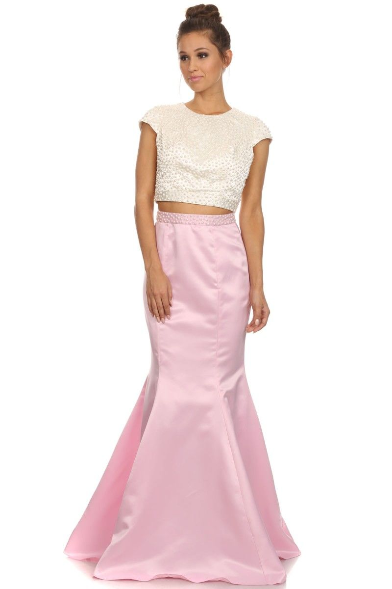 Light Pink Two Piece Set Long Prom Dress with Satin Skirt. https ...