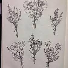 Minimalist Flower Bouquet Tattoo Drawing