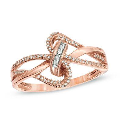 1/6 CT. T.W. Diamond Looping Ribbon Ring in 10K Rose Gold
