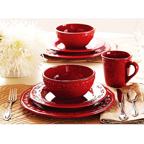Better homes and gardens red embossed christmas mistletoe 24 piece dinnerware set service for 8 for Better homes and gardens dinnerware