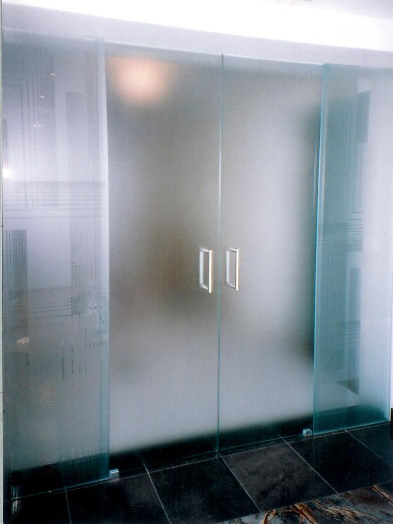 Interior glass door bathroom - Interior Amazing Frameless Frosted Glass Door Office With Simple Small Stainless