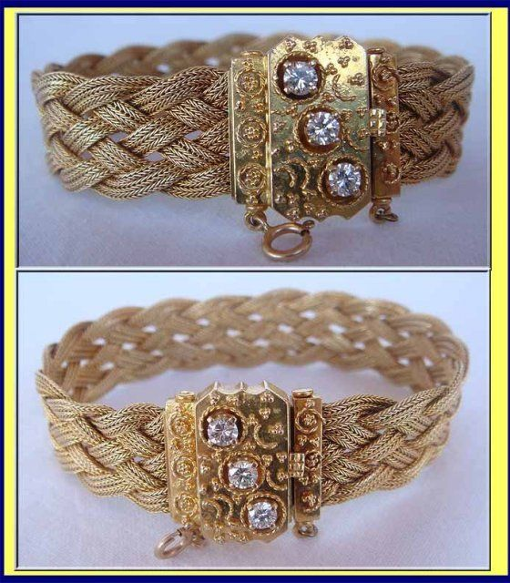 VICTORIAN GOLD DIAMOND MESH PLAITED BRACELET NEOCLASSIC For Sale