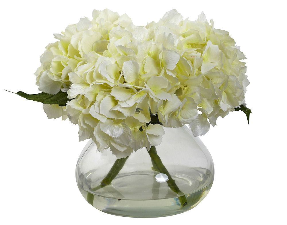 Silk Hydrangeas In Glass Vase With Faux Water White Flowers Silk Hydrangeas Flower Arrangements Fake Flowers