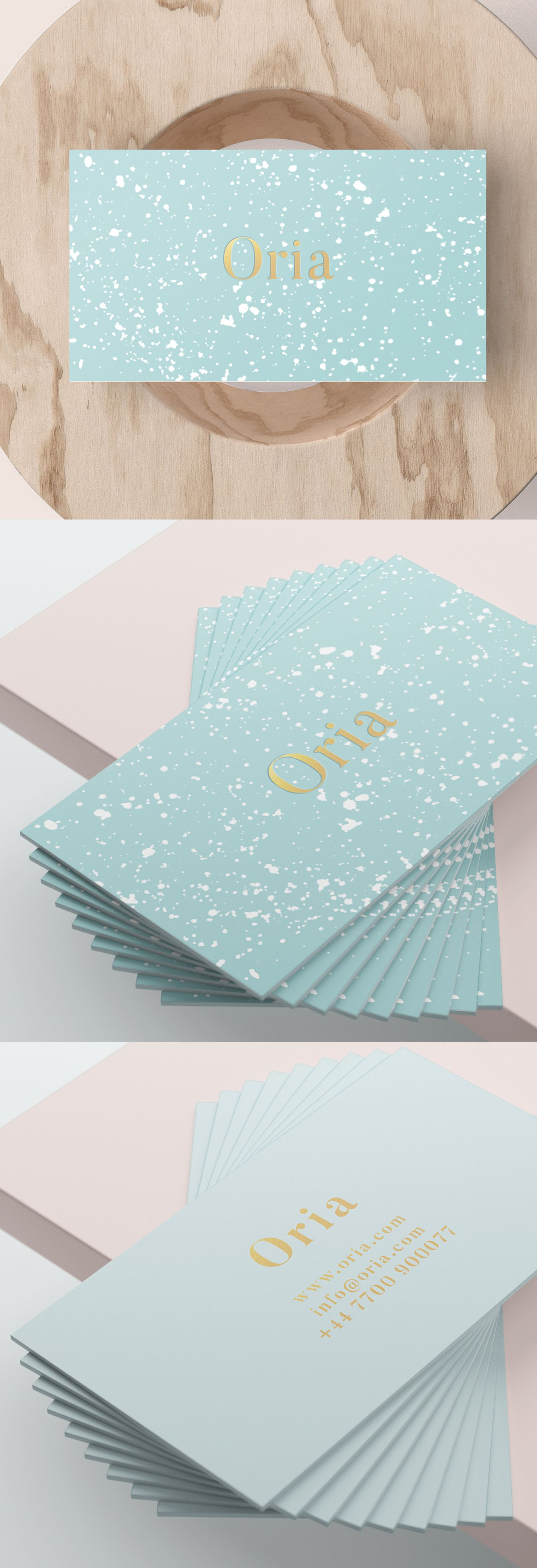 A luxury business card design light blue gold foil and