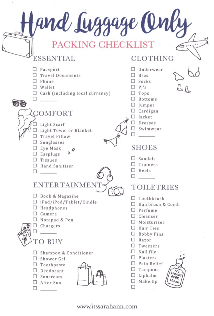 Hand Luggage Only Packing Checklist Free Printable It S Sarah Ann Travel Packing Checklist Packing Tips For Travel Beach Vacation Packing