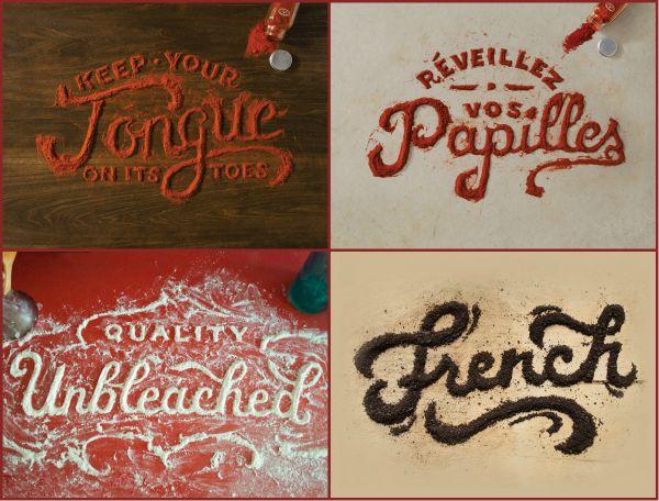 """""""Lettering"""", tipografía creada con utensilios como son harina, especias, pinceles y paños de cocina por Marmalade Bleue. http://ow.ly/rw7b8 ¡¡Nos encanta!!  #Cocina #Recetas #Ingredientes"""