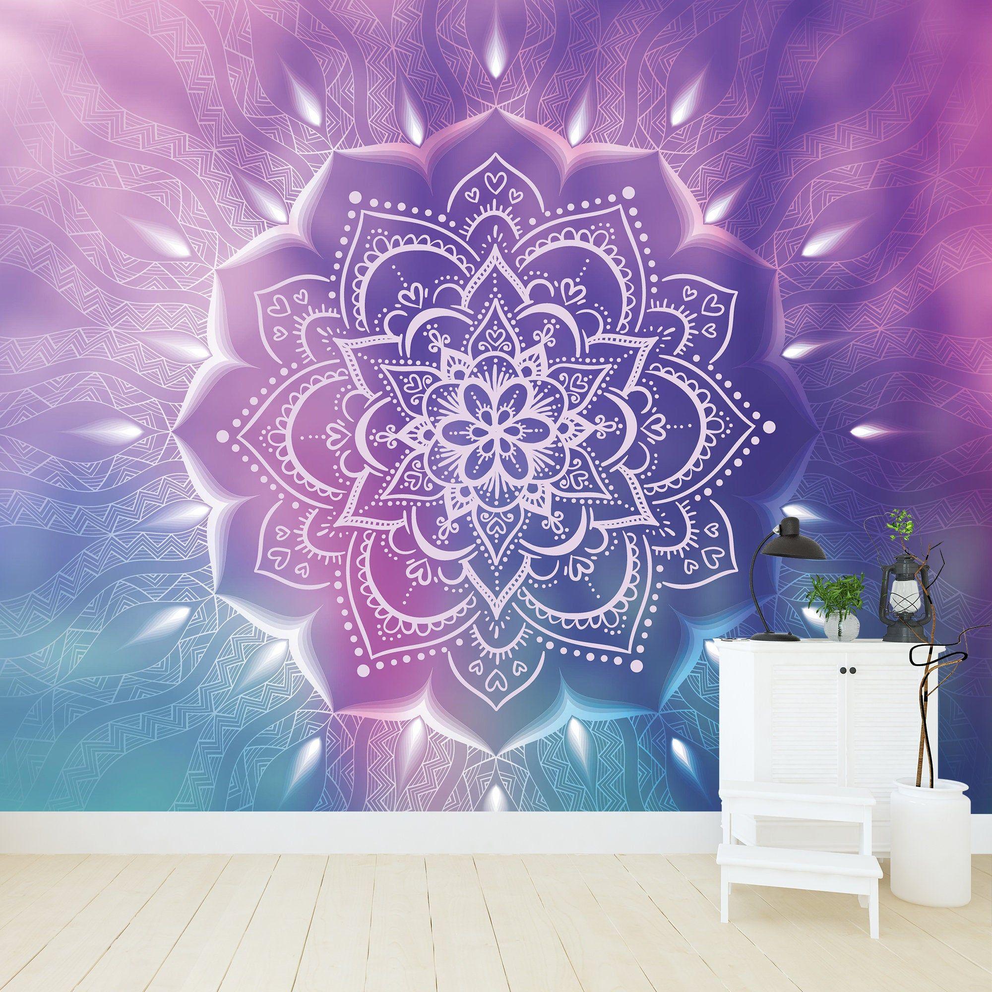 Mandala Removable Wallpaper Personalize Print Ombre Etsy Removable Wallpaper Mandala Wallpaper Personalized Prints