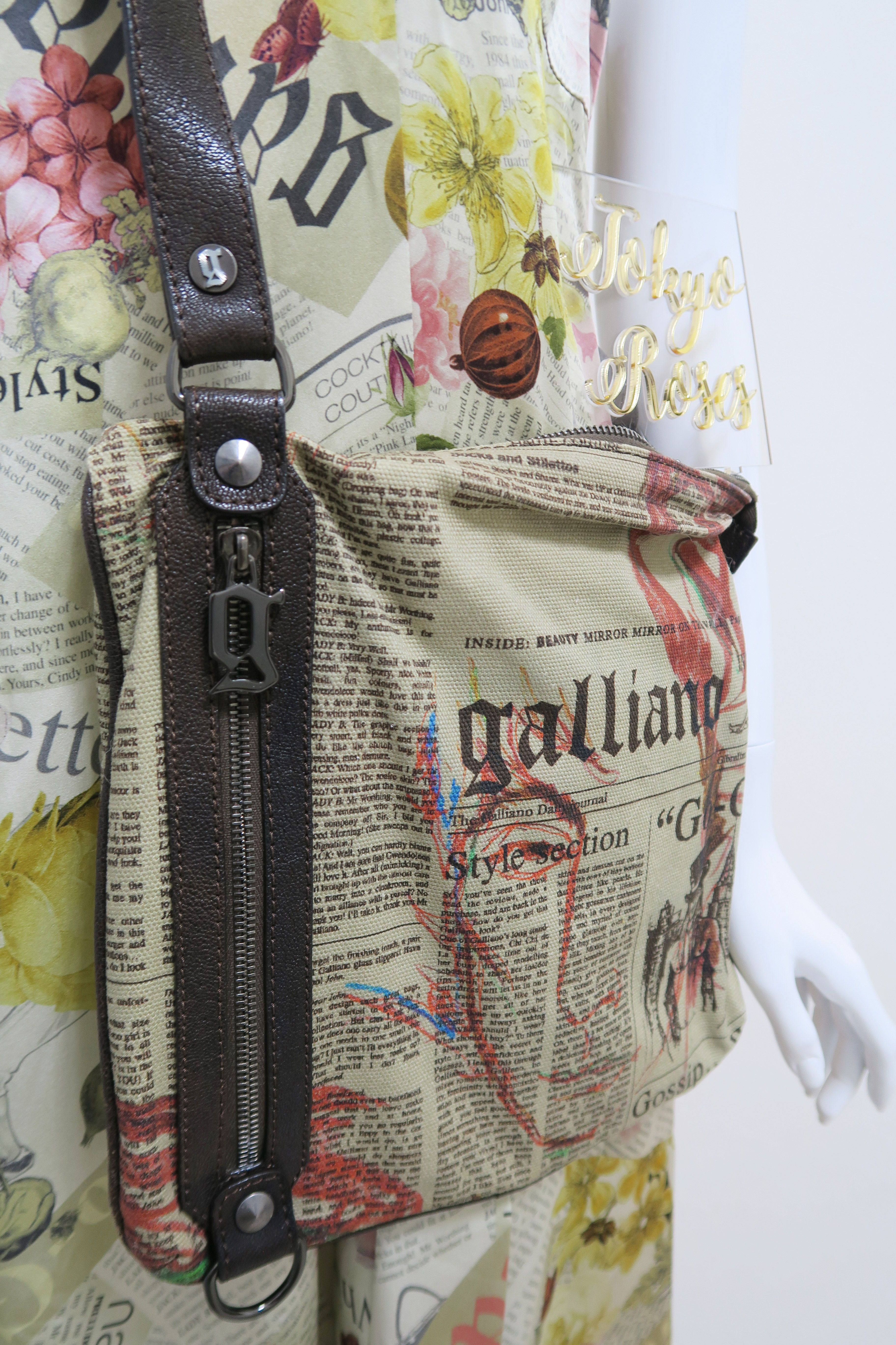 John Galliano Gazette Newspaper Print Crossbody Bag Purse Christian Dior Bags Shoe Necklace Purses And Bags
