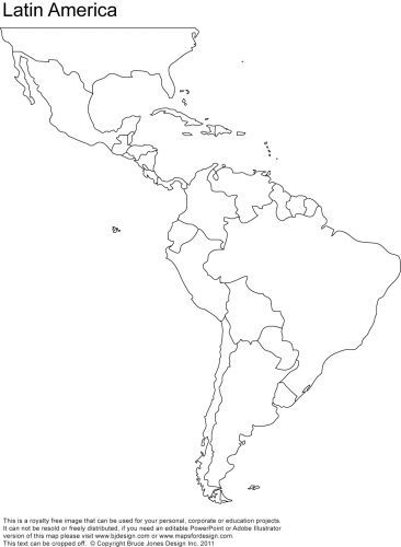 Blank Map Of Central And South America Printable Teaching Ideas - Blank map of central and south america
